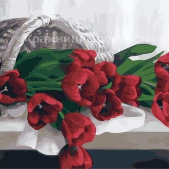 Картина по номерам 'Тюльпаны в корзинке', 40х50см (КНО2064)