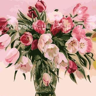"""Картины по номерам без упаковки """"Тюльпаны в вазе"""", 40х50см (КНО1072)"""