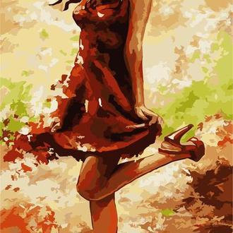 """Картина по номерам без коробки """"Девушка в красном"""", 30х50см (КНО2639)"""