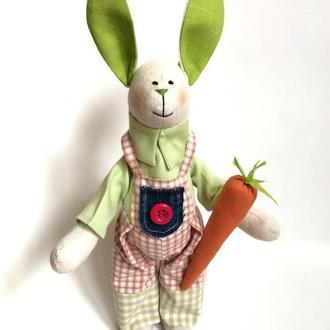 Зайка Садовник заяц игрушка тильда подарунок донечці сину сестрі мамі день народження