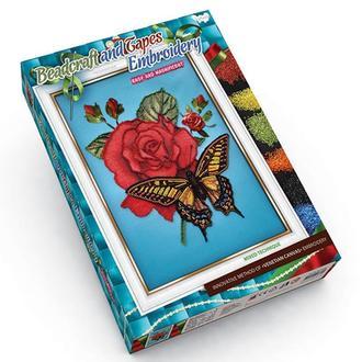 Вышивка бисером и лентами 'Роза+Бабочка' (BV-01-06)