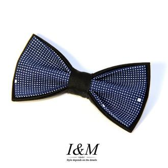 Галстук-бабочка I&M Craft двухцветный нежно-розовый с темно-синим (010606)