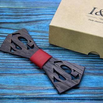 Галстук-бабочка I&M Craft из дерева с логотипом Superman (011212)