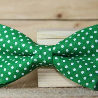 Галстук-бабочка I&M Craft зелёный в горошек (010518)