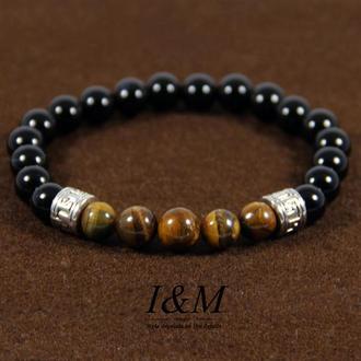 Браслет из камня чёрный агат с тигровым глазом (241014)