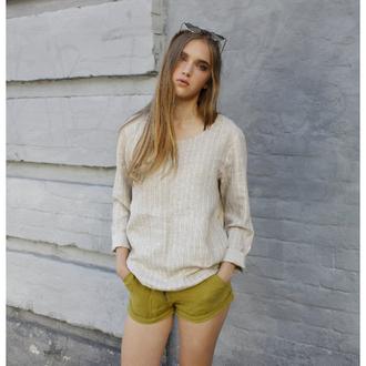 Свободная льняная блуза