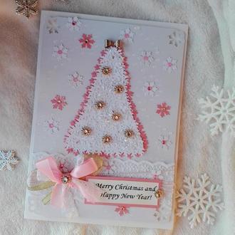 Новогодняя открытка с елкой для девушки