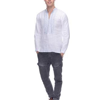 мужская льняная вишиванка белый лен голубая вышивка