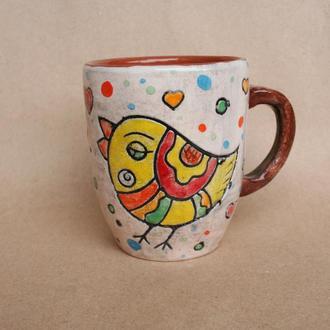 """Керамічна чашка """"Закохані пташки"""""""