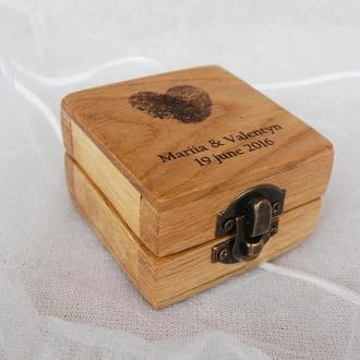 Коробка для колец, держатель свадебных колец из натурального дуба с персональными данными