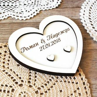 Держатель свадебных колец в виде сердца, подставка для колец