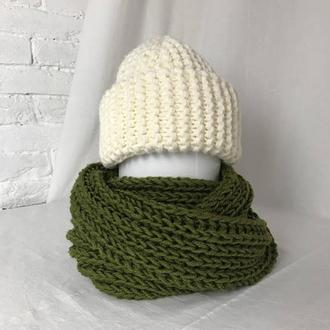 шарф -снуд вязаный.