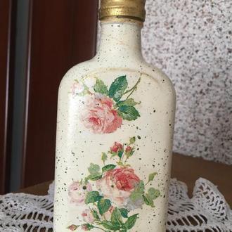 Подарочное оформление бутылки в стиле шебби-шик