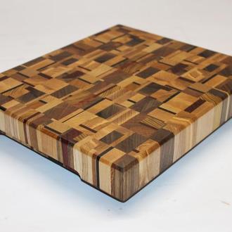 Кухонная торцевая разделочная доска из 10 ценных пород древесины