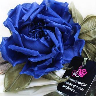 Брошь- заколка «Синяя Роза». Цветы из ткани