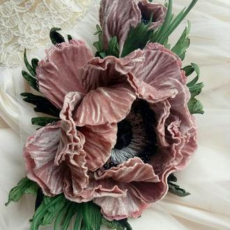 Мак бархатный «Пудровый». Цветы из ткани