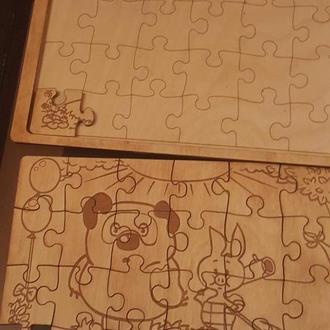 Деревянный пазл- раскраски  с героями мультфильмов