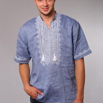мужская вышиванка лен джинса