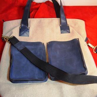 Сумка с двумя накладными кожаными карманами