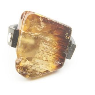 Янтарное кольцо на каучуке, Размер 16
