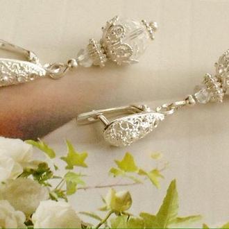 Серебряные серьги с горным хрусталем