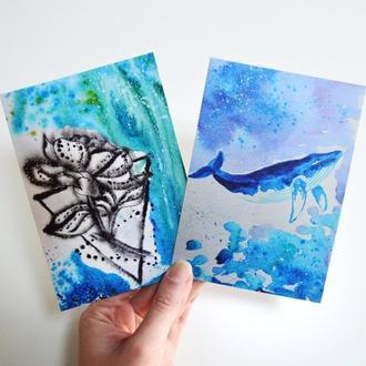 Авторские открытки Кит и Пион. Сет из двух открыток. Оригинальный подарок