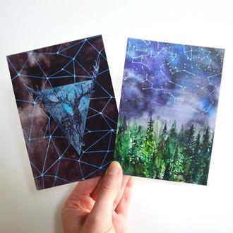 Авторские открытки Олень и Созвездия. Сет из двух открыток. Оригинальный подарок