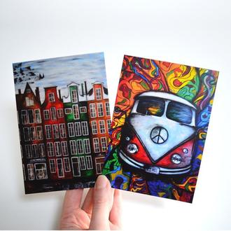 Авторские открытки Амстердам и Хиппимобиль. Сет из двух открыток. Оригинальный подарок