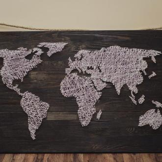Панно из гвоздей и ниток, карта мира, картина