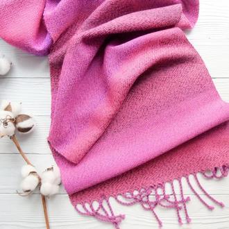 Тканый шарф Ярко-розовый  ручное ткачество
