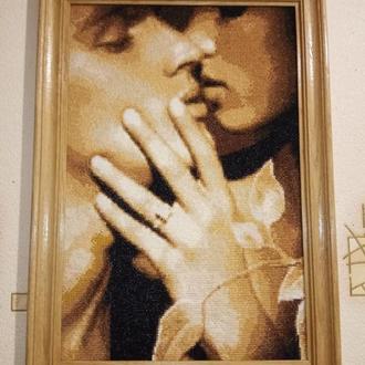 Картина вышивка Пара поцилуй любовь