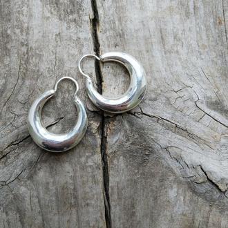 Серебрянные серьги-пьявочки