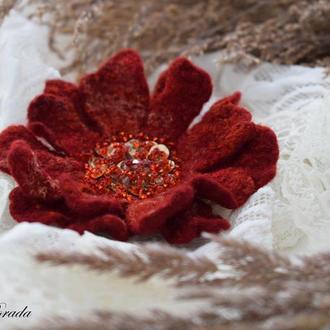 Брошь цветок стильная оранжевая из шерсти брошь цветок эксклюзивный подарок подарок