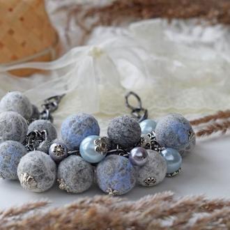 Бусы валяная из шерсти серое гроздь эксклюзивный и стильный подарок бусы из шерсти