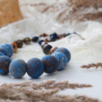 Намисто валяне із шерсті стильний та ексклюзивний подарунок синє коричневе бусы из шерсти