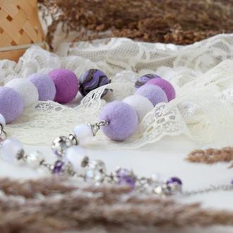 Стильное ожерелье бусы бусы из шерсти валяные из шерсти фиолетовое нежное эксклюзивный подарок