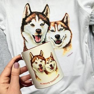 Чашка с авторским принтом «Пара хаски»