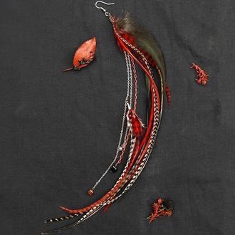 Моно серьга с натуральными перьями