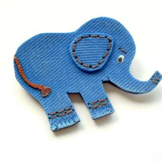Брошь ′Еlephant′, имитация джинсы/денима