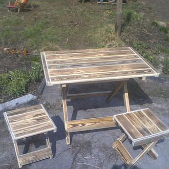Раскладные табуреты и столы из натурального дерева для дач и пикников