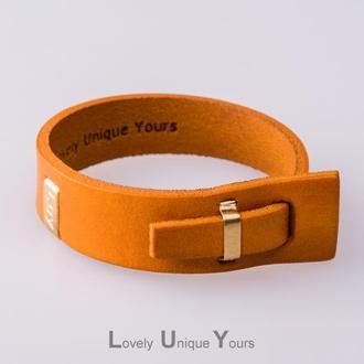 Кожаный браслет LUY N.2 один оборот (желтый)