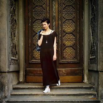 Платье летнее льняное вязаное