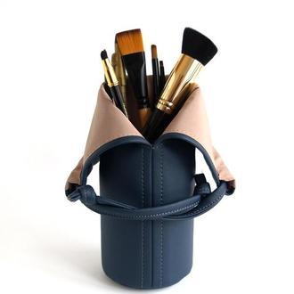 Темно-синяя косметичка / Подставка для кисточек для макияжа
