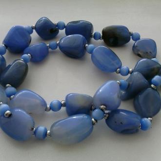 Бусы из редкого голубого агата-сапфирина