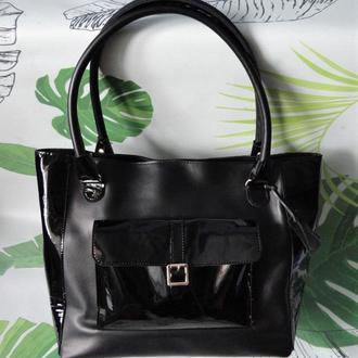 Кожаная женская сумка лаковые вставки