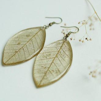 Серьги с золотистыми листиками