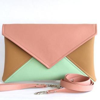 Розово ментоловый клатч / Яркая сумочка