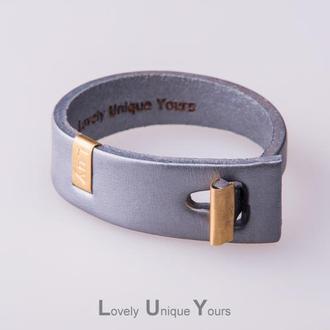 Кожаный браслет LUY N.3 один оборот (серебро)
