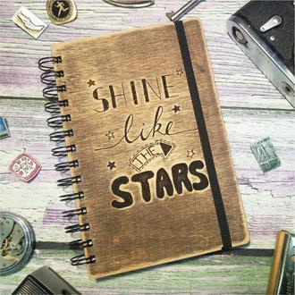 "Деревянный блокнот ""Shine like the stars"""