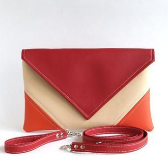 Оранжево красный клатч / Сумочка на запястье